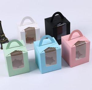 Одиночные коробки кекс с четкой ручкой Window Портативный Macaron Box Mousse Cake Закусочная Бумага Пакет Чехлы День рождения Питание SN2463