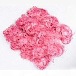Húmedo y ondulado Pure Pure Brasil Virgin Human Hair Weave Tejidos de onda de agua Doble trama de color Pink Pink Human Pein Bundles Ofertas 3pcs Lot