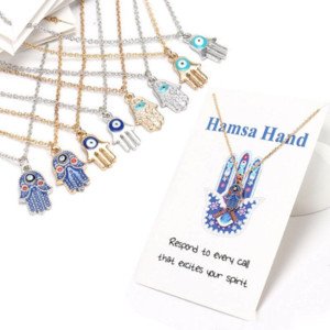 Fashion Womens Designer Necklace Silver Gold Plated Chain Classic Evil Eye Hamsa hand Charms Pendant Jewelry Gift