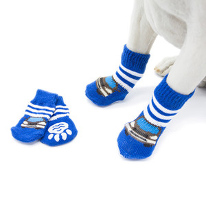 4pcs lot Winter Warm Pet Dog Socks Fashion Anti-Slip Dog Boots For Small Puppy and Large Dog 27 S2