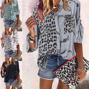Womens Blouses Oversize Leopard Patchwork Shirts Sping Autumn Women's Blouse Tops Long Sleeve Loose Shirts Femme Street Plus Size Blouses