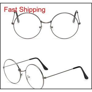 Nouveau cadre en métal rond classique avec lentilles claires Vintage lunettes de soleil cadre Harajuku Hommes et femmes Cadre décoratif QYLBSR Bdeoys