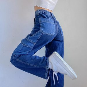 2021 Elastic Aesthetic Jeans Womens Hop High Waist Patchwork Distressed Jeans Big Pantalon Vintage Hip Baggy Femme Pocket Lpxxw
