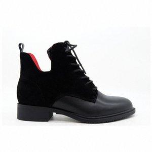 Moda Mujeres Negro Cuero Suede Rojo Forro Temperamento Cabeza Redonda Vendajes Cilindros Botas cortas Gruesas Botas de tobillo de botines de, H3JM #