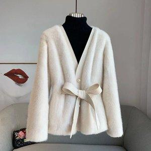 Winter Warm Faux Coat Women Elegant V-Neck Pearl Button Lace-Up Short Fur Jacket With Belt High Quality Fur Overcoat