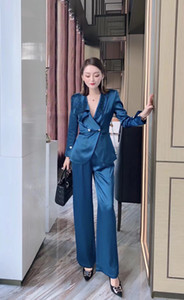 210 2021 Spring Summer Free Shipping Sweater Long Sleeve lapel Neck Fashion Womens Beads Clothes Women's Two Piece Sets Pants Weilan