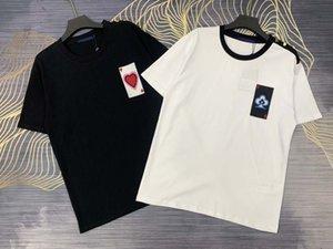 21ss Erkek Tasarımcı İlkbahar Yaz Paris Poker Mektup Nakış Tee T Gömlek Moda Erkek Kadın Rahat Pamuk T-Shirt Siyah Beyaz 09