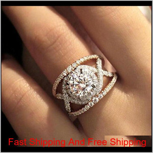 Trendy Chic Round Crystal Zircon Rings For Women Stylish Luxury Wedding Engagement Anniversary Rings Fashion Bride Jewelry Anel 13Dfn Dhzaz