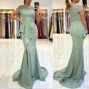 2021 Dusty Green Evening Dresses Short Sleeves Peplum Lace Applique Mermaid Chiffon Side Slit Sweep Train Chiffon Prom Party Gown vestido