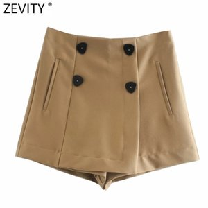 Zevity New Women Vintage Vintage Double Breasted Sólido Casual Shorts Shorts Faldas Laterales Side Cremallera Chic Shorts Pantalone Cortos P960 210304