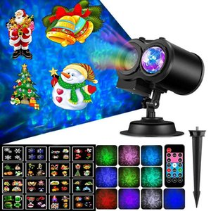 16 Patterns LED Christmas Projector Light Remote Control Projector Lamp Outdoor Garden Holiday Projection Light Home Party Decor