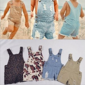 Vieeoease Girls Overalls Autumn Hole Jeans Shorts Trend Leopard Printing Kids Pant CC-944