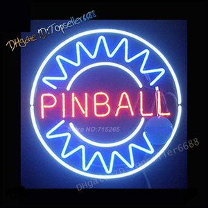 Pinball Room Play Here Display Game Man Cave Décor Dual Color Glass Neon Sign Blue & Red 17X14 Inch