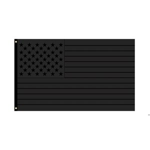 All Black American Flags 2024 Trump Flag 90*150cm Black American Striped Flag 2024 Presidential Election Flags HWB5206