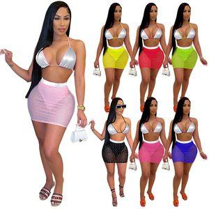 Women sexy swimming suit sequins bikini sets bra+mesh sheer mini skirts fashion bathing suit bodycon swim wear summer plus size 4567