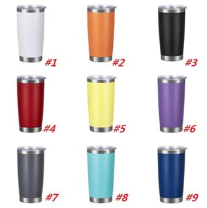 New fashion 20oz Drinking cup Tumbler with Lid Stainless Steel Wine Glass Vacuum Insulated cup Travel 18color sea shippingDWD4868