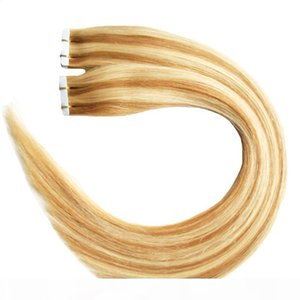 P27 613 100g Full Cuticle Seamless Straight PU Skin Weft Extensions 40pcs Tape in human hair extensions Body Wave virgin brazilian hair