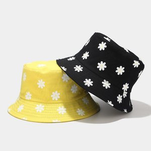Koreanischer Stil Neue Blumendruck Eimer Hut Frauen Künstlerische frische Eimer Hut Sommer Outdoor Doppelseitige Sonnenkappe