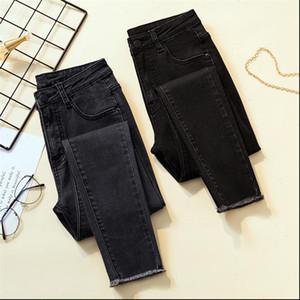 Vintage Mom Fit High Waist Jeans Elastic Femme Women Washed Black Denim Skinny Jeans Classic Pencil Pant Plus Size8255