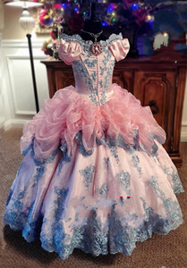 2021 New Vintage Lovely Lace Pink Girls Pageant Dresses For Weddings Off Shoulder Ruffles junior Girls Formal Dress Kids Prom Communion Gown