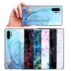 Caso de telefone móvel de vidro temperado de mármore para Samsung Galaxy S7 S8 S10 Nota 9 10