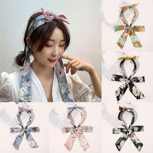 Fashion Hair Scrunchies Satin Long Ribbon Headband Bowknot Ties Rope Hair Scarf For Women POnytail Holder Hair Accessories