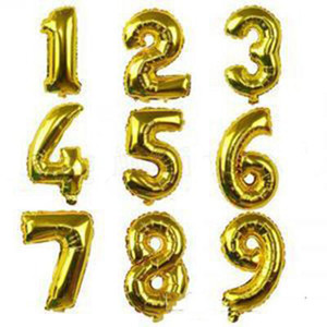 Helium Air Balloon Number Letter Shaped Gold Silver Inflatable Ballons Birthday Wedding Decoration Event Party Supplies OOB5356