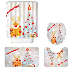 4 Pcs Set Christmas Tree Elk Print Base Rug + Bathroom Mat and Waterproof Shower Curtain, Non-Slip Toilet Cover Mat Set