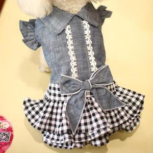 Vestido de cão primavera e verão novo denim tutu laço laço denim saia pet roupas filhote de cachorro princesa princesa para cães pequenos xs-xl