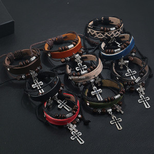 Retro Jesus Cross Bracelet Wood Beads Multilayer Adjustable Leather Bracelets Women Mens Bracelet Bangle Cuff Fashion Jewelry