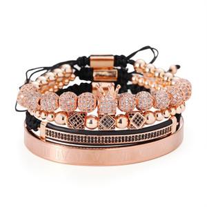 Hot sale punk wind copper with zirconium crown diamond diamond diamond double row crescent combination four suit bracelet