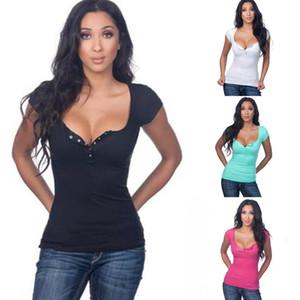 2021 Летние Женщины футболки Повседневная кнопка Глубокие V-образные Шеки Сплошные Короткие Рукавы Дамы Футболки Топы Футболка Для Девочек Феминин Bluss