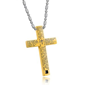 Christian bible cross pendant necklace stainless steel bamboo chain gold color necklace for men and women