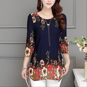 2021 New Fashion Women Blouse shirt plus size 4XL Chiffon red womens clothing o neck floral Print Feminine tops blusas 993D