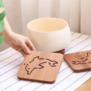 Semplice durevole e alla moda ebano vaso tappetino quadrato cartone animato pasto tazza di caffè tazza tappetino fisitatura di isolamento tappetino fwd4919