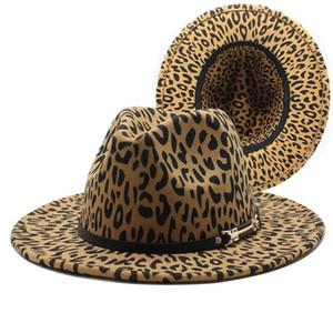 Leopard Fedora Hats Wide Brim Belt 밴드 남성 여성 모자 캐주얼 공식 웨딩 재즈 모자 인쇄 Felted Western Cowboy
