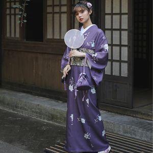 Anime Costumes Japanese Traditional Flower Kimono Vintage Stage Show Costume Cosplay purple long gown elegant asian dress Women Sakura Suit