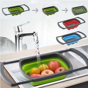 Colanders & Strainers Foldable Colander Drain Folding Baskets Collapsible Kitchen Strainer Noodles Fruit Vegetable Washing Bowls