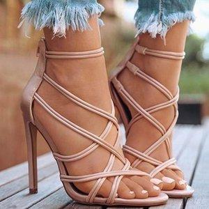 Gaoke 2021 Sandali di vendita Top Sandali cross-nastro croce Sandali con tacco alto con tacco alto Cavo Fishmouth nelle scarpe da donna Plus Size 43