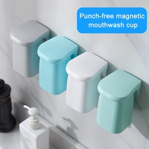 Bathroom Magnetic Suction Mouthwash Cup Wall-mounted Plastic Drain Shelf Tooth Brushing Household SDF-SHIP