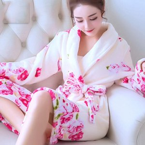 Женщины Купальники Халаты Коралловой Флис Ночной ночной ночной фонарь для женской Домашний Одежда Цветочный халат Кимоно Отель Халат Полотенце