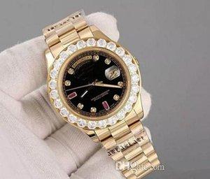 럭셔리 슈퍼 좋은 대통령 날짜 날짜 시계 큰 다이아몬드 베젤 블랙 다이얼 남자 접는 걸쇠, Dail Diameter : 43mm