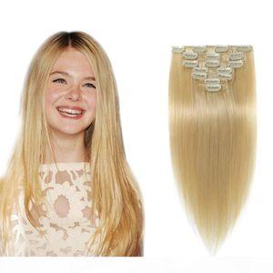 Doble conjunto # 613 Clip en extensiones de cabello humano 10pcs Lot Malasian CHINK CLIPS INTE REMY RHONDE HUMANO PELO HUMANO Extensiones de cabello Clip en 200 g