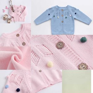baby kids clothing Cardigan INS Knitted Solid Color Hollow Out Design sweater 100% Cotton Boutique Girl spring fall sweater YKI8