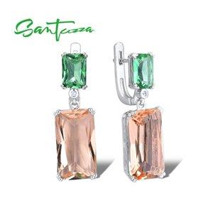 Santuzza Pendientes de plata para mujeres 925 plata esterlina brillante brillante champagne cristal pendientes colgando joyería de moda 210311