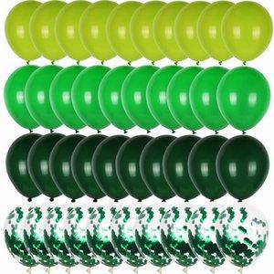 40 adet Yeşil Balonlar Set Krom Metalik Konfeti Balon Orman Safari Hayvan Doğum Günü Partisi Dekorasyon Düğün Balon Garland
