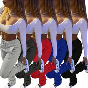 Stacked Pants Women Solid High Waist Drawstring Bell Bottom Flare Pleated Pants Casual Active Leggings Thick Sweatpants Trousers