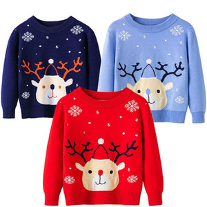 Pullover 2021 Autumn And Winter Boys Girls Warm Sweater Christmas Elk Long-sleeved Children's 2-7 Years Old Kids Jacket