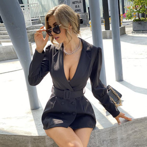 Negro sexy profundo v cuello de manga llena de manga llena mujeres dobles breasted con fajas de ropa exterior otoño invierno oficina oficina señora blazer