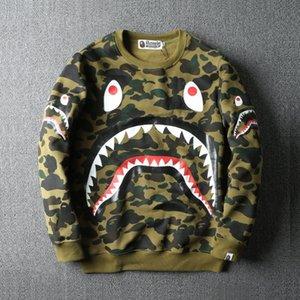 Зубная головка акула мода камуфляж мужская повседневная свободная плюшевая шея свитер